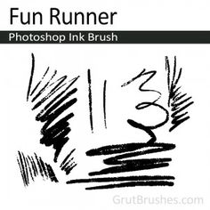 """""""Fun-Runner"""" Photoshop Ink Brush. A variable width rustic inker with lots of texture to give it's lines a strong confident personality and a free wheeling improvised feel. A loose sketching brush that produces strong dark drawings."""