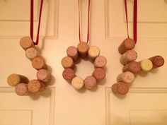 Wine Cork Ornament Set - J-O-Y cork ornaments - Holiday Décor - Christmas ornament