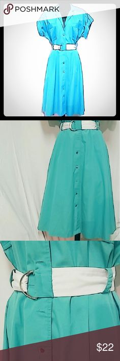 """Vintage Aqua dress Cotton 70's style dress  Missing 2 silver buttons that can be replaced Full skirt with pockets Matching belt Color is closer to 2-4 pics  *No tags to determine size* Bust -36""""-42"""" Waist-28"""" Vintage Dresses"""