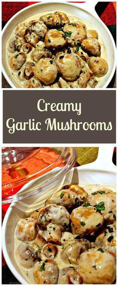 Creamy Knoblauch Pilze.  Dies ist eine sehr schnelle, einfache und leckeres Rezept, ideal als Beilage servieren auf Toast für einen Brunch oder fügen Sie bis zu einem gewissen schöne Pasta!     Lovefoodies.com