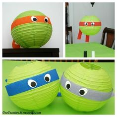 Aren't these adorable?  Teenage Mutant Ninja Turtle Party decorations, no instructions here, but with a 4.00 lampshade from Ikea, I bet you can figure out the rest... Turtle Birthday Parties, Ninja Turtle Birthday, Ninja Turtle Party, Birthday Ideas, 5th Birthday, Turtle Baby, Ninja Party, Partys, Party Ideas