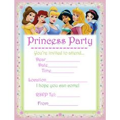 DISNEY PRINCESSES PRINTABLE BIRTHDAY INVITATION