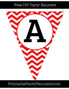 Red and White Pennant Chevron Capital Letter A