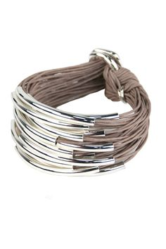 Waxed cotton with silver tubes bracelet from Gillian Julius.  Beautiful on your wrist.