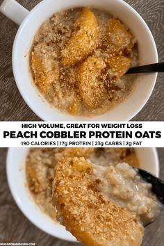 delicious bowl of peach cobbler protein oatmeal with added volume via cauliflower rice to keep you full for hours. If you need breakfast in a hurry, these proats are the ticket. Healthy Protein Snacks, Protein Foods, Healthy Breakfast Recipes, Healthy Recipes, High Protein, Healthy Foods, Protein Desserts, Healthy Eats, Breakfast Ideas