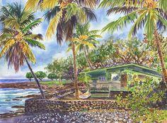 Green Kona Beach House In Hawaii Painting