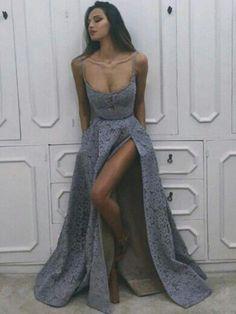 Spaghetti Straps Prom Dress A-line Modest Lace Long Prom Dresses/Evening Dress|Amyprom – AmyProm
