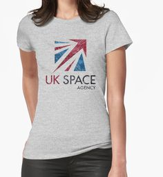 """UK Space Agency"" Womens Fitted T-Shirts by Lidra 