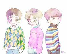 Exo Cartoon, Exo Anime, Exo Fan Art, Exo Lockscreen, Xiuchen, Fanarts Anime, Short Comics, Kpop Fanart, Baekhyun
