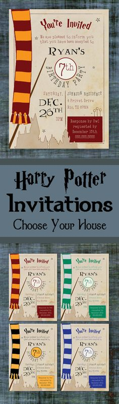 Harry Potter Birthday Invitations allow you to choose which House you would like to be in. Will you be in Gryffindor, Slytherin, Ravenclaw or Hufflepuff? #ad #harrypotter #harrypotterfan #potterhead #birthdayparty #birthdaypartyinvitations #invitations #gryffindor #etsy
