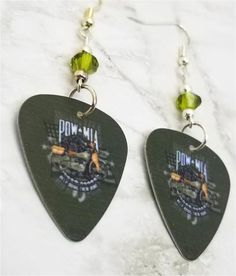 POW MIA Over a Motorcycle on Green Guitar Pick Earrings with Green Swa – SimplyRaevyn Military Jewelry, Guitar Pick Jewelry, Guitar Picks, Stocking Stuffers, Clip On Earrings, Swarovski Crystals, Sterling Silver, Green, Gifts