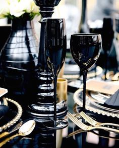 "aishaholly: ""Tabletop styling. I love the black and gold details I created for this glamorous tabletop. #eventdesign #weddingstyle #propstyling #wedding #weddingday #creative #propstylist #tabletopdesign #dailyinspiration #design #inspiration..."