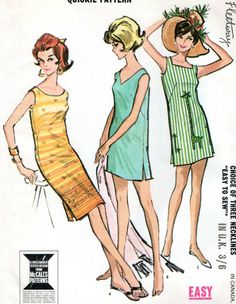 Vintage sewing pattern 6740 McCall s Misses  DRESS Bust 34 -36  1960s