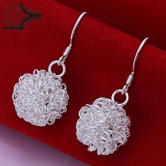 Free Shipping!!Wholesale Silver Plated Earring,Wedding Jewelry Accessories,Fashion Tennis Ball Silver Earrings For Women