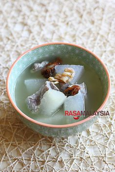 Winter Melon Soup recipe - a nourishing flavorful and cooling soup.   rasamalaysia.com
