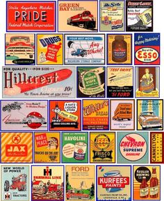 Signs and Graphics for your Model Railroad Vintage Banner, Vintage Menu, Vintage Ads, Vintage Signs, Retro Ads, Vintage Advertisements, Ho Scale Train Layout, Train Layouts, Trains For Sale