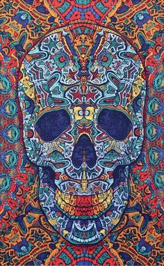 3D Skull Tapestry Beach Sheet Wall Hanging Fabric Poster Art - Free 3-D Glasses