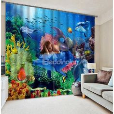 Mysterious Mermaid With Submarin World Printing 3D Blackout Curtain on sale, Buy…