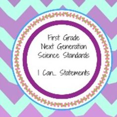 "Next Generation Science Standards ""I can"" statements for f"