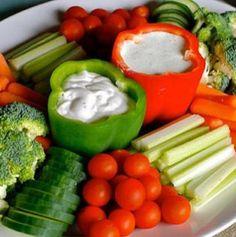 Great idea for serving veggie dip!