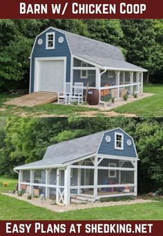 Here's a neat barn with a screened in chicken coop located under the side porch. Eric built this neat barn with a huge loft and side porch using my 12x22 barn shed plans. He added the porch on to incorporate a home for his chickens and did a beautiful job.You can learn more about the plans Eric used to build this neat chicken coop and storage barn by visiting the link included with this post. Shed Building Plans, Diy Shed Plans, Barn Plans, 3d Building Models, Shed With Porch, Backyard Barn, Build Your Own Shed, Porch Plans, Barn Storage