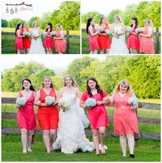 Coral bridesmaid dresses, each girl picked a different dress based off a paint swatch given to her by the bride. Hiwassee River Wedding, outdoor rustic vintage, book lover wedding by Mimi Kay Photography, wedding photographers in Cleveland, TN and Benton, TN See more at www.mimikayphotography.com/blog