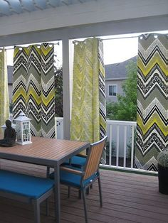 Privat in outdoor space with porch curtains privacy Outdoor Curtains For Patio, Porch Curtains, Outdoor Blinds, Cool Curtains, Outdoor Rooms, Outdoor Living, Shower Curtains, Beige Curtains, Patterned Curtains