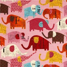 168831 pale pink elephant canvas fabric by from modes4u by DaWanda.com