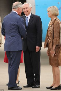 Welcome to Kentucky! The Prince of Wales is greeted by by the Governor and First Lady of Kentucky, Steve and Jane Beshear after touching down at Louisville International Airport 20 Mar 2015