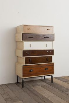 Rupert Blanchard ° commodes de vieux tiroirs ( I love the idea of building units to house mismatched drawers! ) Street Furniture, Furniture Ideas, Buffet, Dresser, Woodworking, Cabinet, Storage, Design, Home Decor