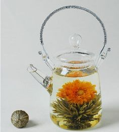 """Glass Teapot with Screen Spout for Blooming Tea."" - I am smitten with the idea of blooming tea, must try it at Black Dog Cafe when I get back to Florida. Afternoon Tea, Smothie, Glass Teapot, Glass Vase, Chocolate Caliente, Flower Tea, My Cup Of Tea, Blooming Flowers, Tiny Flowers"