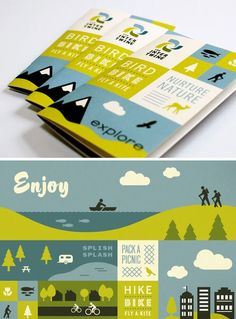 "This pamphlet has a very modern design as it only uses simple vector art. Despite this, you can still feel the ""Enjoy Nature"" approach the were going for."