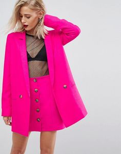ASOS Tailored Double Breasted Blazer In Pop Pink - Pink