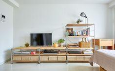 Shelf Inspiration, Wardrobe Organisation, Organization, Muji, Office Desk, Corner Desk, Shelving, Living Room, Interior