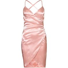 Nly One Wrap Satin Dress ($47) ❤ liked on Polyvore featuring dresses, pink wrap dress, zipper dress, pink satin dress, wrap style dress and tall dresses