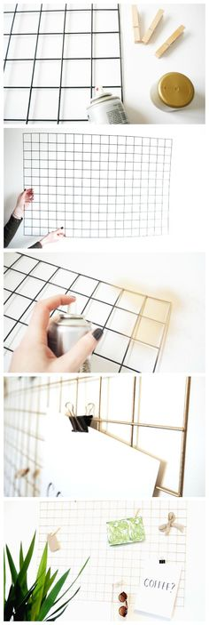 "How To Make a DIY Gold Wire Memo Board | Tutorial. The mesh is also called a ""Galvanized Mesh Panel"" or a ""PVC Coated Wire Grid"" look for it in gardening. interesting way to change out small woodcuts"