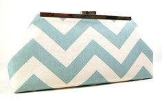 Clutch Purse Sea Foam and Natural Chevron by CreationsByAngel