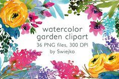 Watercolor Country Flowers aquarelle by swiejko on Creative Market