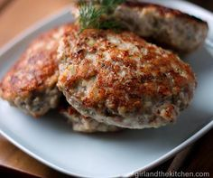 Russian Kotletki - are beautiful little ground chicken cutlets, lightly flavored with fragrant dill and savory onion and pan fried or baked until golden brown.