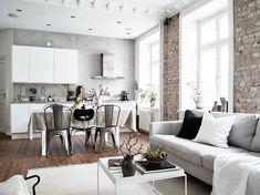 Scandinavian living room with open kitchen