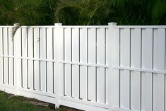Nick's Vinyl Fence Backyard Fences, Garden Fencing, Outdoor Spaces, Outdoor Living, Outdoor Decor, Outdoor Ideas, Fences Movie, Timber Fencing, Types Of Fences