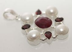 Awesome designer red garnet quartzsea pearl by 925silvercreation