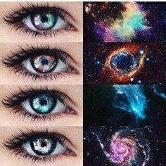 123 or Galaxy Eyes✨ by Unknown Beautiful Eyes Color, Pretty Eyes, Cool Eyes, Rare Eye Colors, Witcher Wallpaper, Colored Eye Contacts, Natural Color Contacts, Rare Eyes, Galaxy Eyes