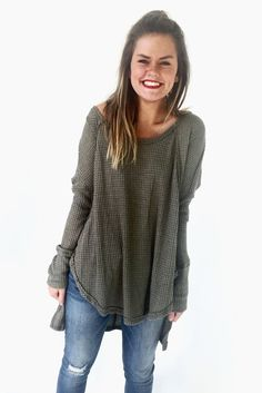 Waffle knit top, inspired by free people. Perfect for fall.