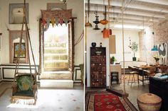 Toms founder Blake Mycoskie's Topanga Canyon home is a trove of all the worldly treasures he and his wife have collected over the years. A Balinese desk is the centerpiece of Blake's office, a Cameroonian drop cloth tops the couple's four poster bed and reclaimed wood from Coney Island's