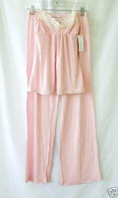 Eberjey Soft Pink & Ecru Lace Pima Cotton pajamas Lounge pants & Camisole S NWT