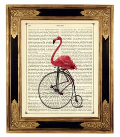 Pink Flamingo riding Bicycle Unicycle - Vintage Victorian Book Page Art Print Steampunk on Etsy, $9.90
