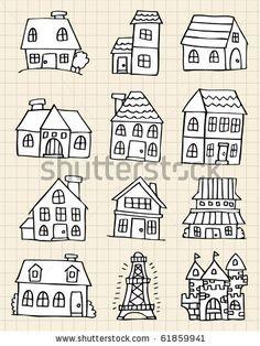 Diese Häuser kannst du abmalen.