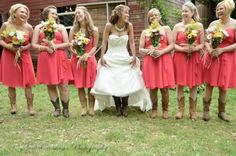 Who said the bride can't match her bridesmaids? Cowboy boots are a must for any country girl's wedding>> http://www.greatamericancountry.com/living/lifestyles/country-weddings-brides-in-boots-pictures?soc=pinterest