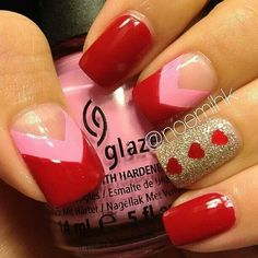 Heartthrob red - Pasty pink - Hearts - Gold - Glitter